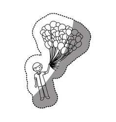 Silhouette happy boy with balloons in the hand vector