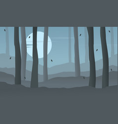 Silhouette of forest at night landscape vector