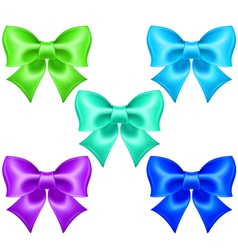 Silk bows in cool colors vector image