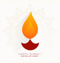 Simple creative diwali festival diya greeting vector