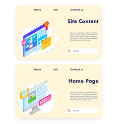Site content website landing page template vector