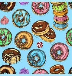 Sketch donut vintag card menu vector