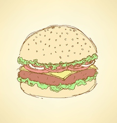 Sketch tasty hamburger in vintage style vector image