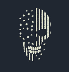skull made like american flag vector image