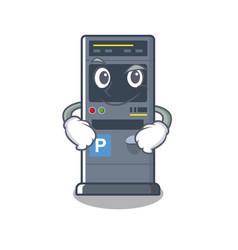 Smirking parking vending machine cartoon shape vector