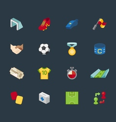 Soccer element color icon set vector