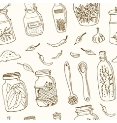 Spices in jars seamless pattern vintage vector