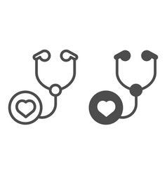 Stethoscope line and glyph icon doctor tool vector