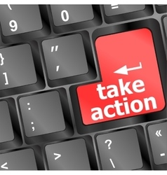 Take action red key on a computer keyboard vector