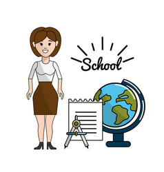 Teacher with papper compass and earth planet desk vector