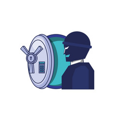 thief man with safe box security vector image
