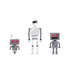 three modern and retro style robot characters vector image