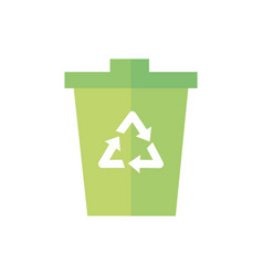 trash can recycle green energy icon vector image