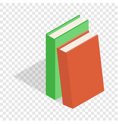 two books red and green isometric icon vector image