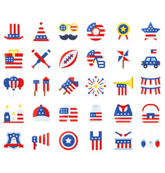 United state independence day flat icon set 2 vector