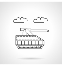 Unmanned tank flat line icon vector