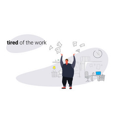 unsatisfied fat man boss throwing papers documents vector image