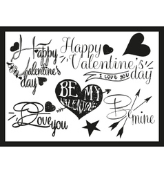 Valentines day hand lettering in vintage style vector image
