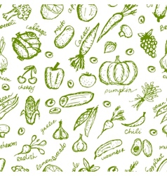 Vegetable seamless pattern for your design vector image