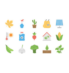 Vegetables plants and fruits flat icons s vector