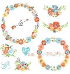 Wedding Flower Elements set vector