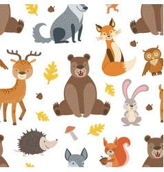 wild forest animals seamless pattern design vector image