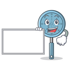 With board skimmer utensil character cartoon vector