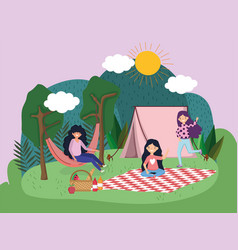 Young people picnic in park vector