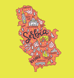cartoon serbia map vector image vector image