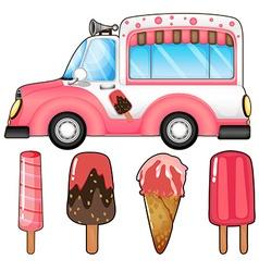 Ice cream truck and many ice cream vector image vector image