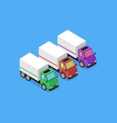 isometric delivery van car icon vector image