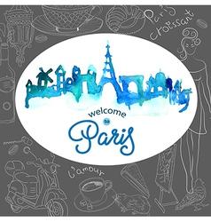 Paris skyline watercolor background vector image