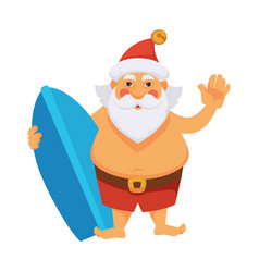 santa summer vacations ocean surfboard daily vector image