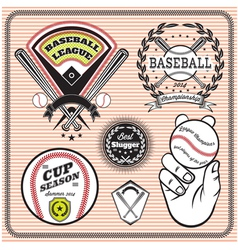 set of emblems and signs for baseball vector image