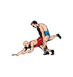 Wrestlers Fighting Retro vector image vector image