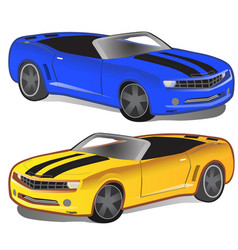 yellow and blue sport car without top vector image vector image