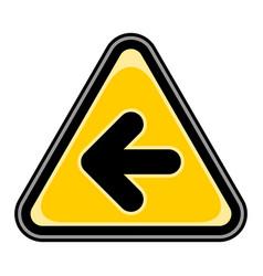 Arrow left sign triangular sticker vector