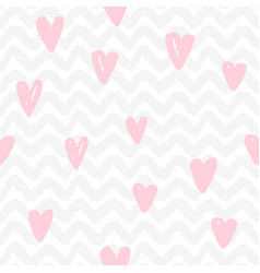 chevron and hearts seamless pattern vector image vector image