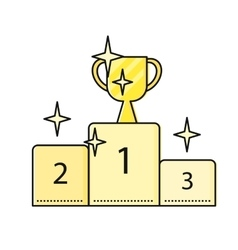 Cup Winner on Winners Podium vector image