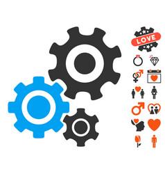 gear mechanism icon with love bonus vector image vector image