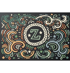 Letter Z Hand drawn vintage print vector image vector image