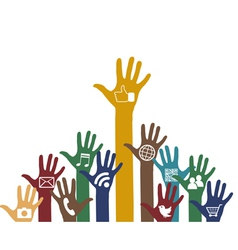 Social media icons in hands vector image vector image