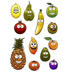 Tropical and garden fruits cartoon characters vector image vector image