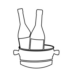 Bottles wine with bucket cold line image vector