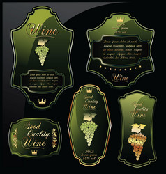 Green wine labels on black background vector
