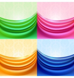 colored set curtain silk tissue vector image vector image