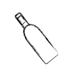 Contour wine bottle with glass beverage vector