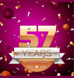 Fifty seven years anniversary celebration design vector