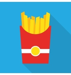 French fries fast food in a red package vector image vector image