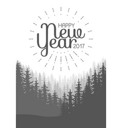 happy new year flyer wild coniferous forest vector image vector image